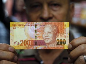 South African Rand is nearly 15% down since a month ago
