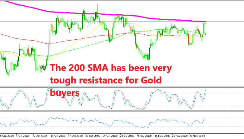 Gold is flirting with the 200 SMA again after a bullish day