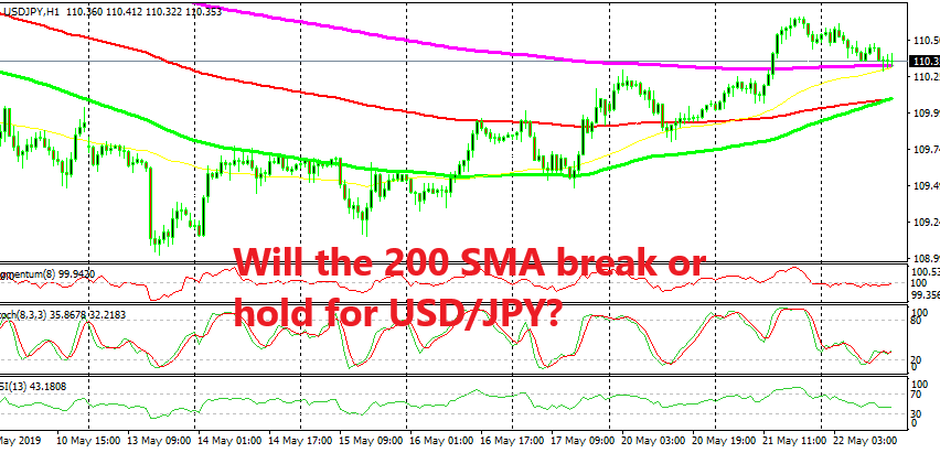 The 200 SMA is the decisive indicator whether USD/JPY stays bullish or turns bearish