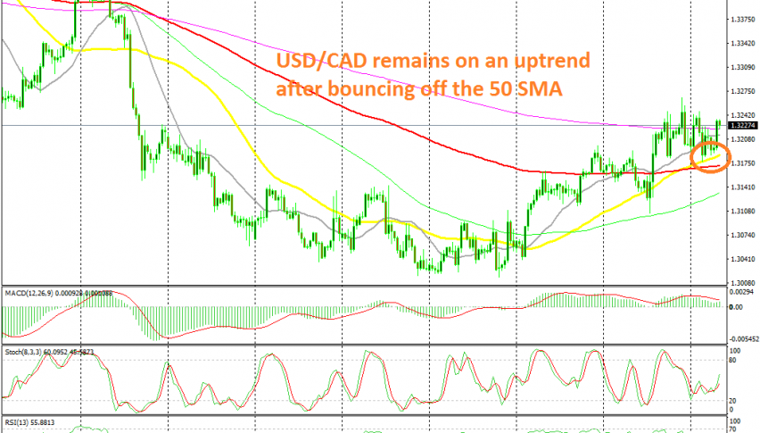 The 50 SMA held the decline yesterday