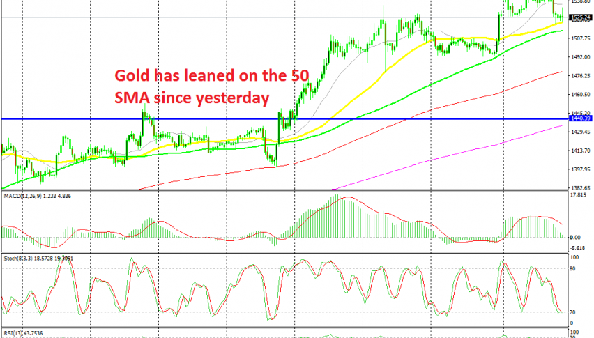 Gold is finding support at the 50 SMA