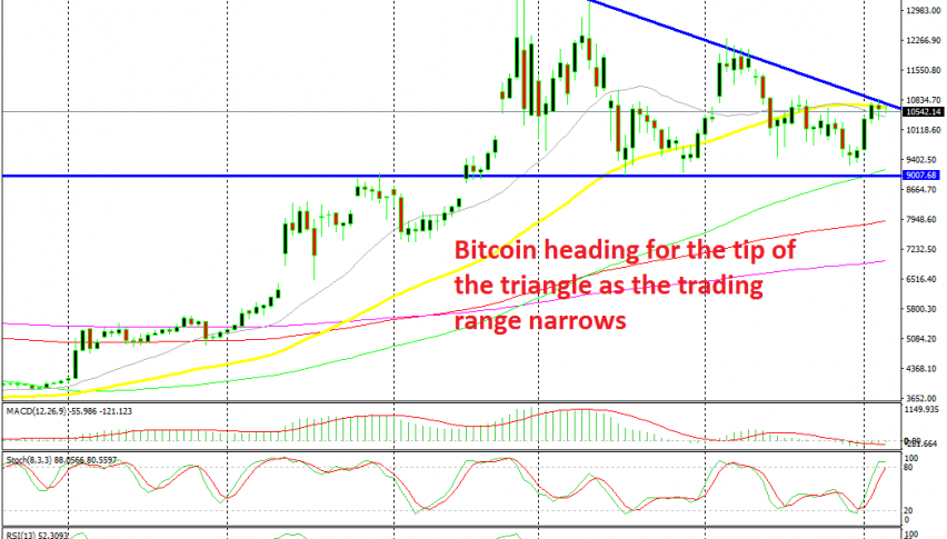 A bearish reversing pattern has formed in Bitcoin