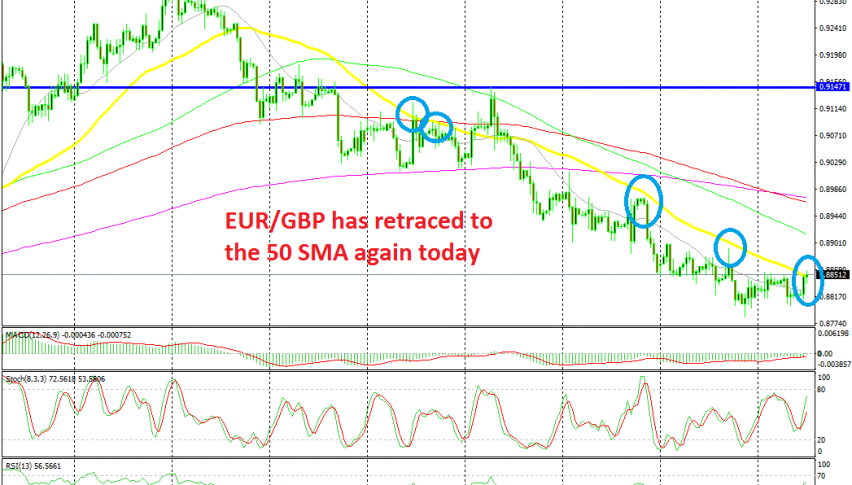 EUR/GBP has reached the 50 SMA again