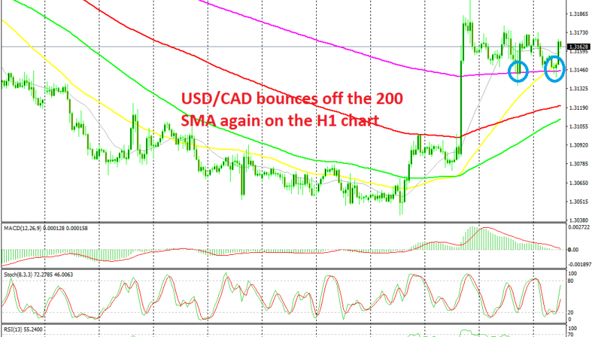 USD/CAD continues to find solid support at the 200 SMA