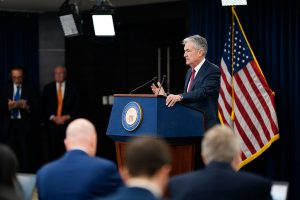 Fed Chair Jerome Powell in focus