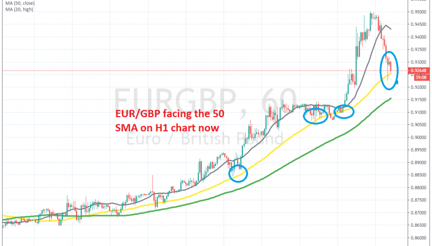 Let's see if EUR/GBP will bounce off the 50 SMA