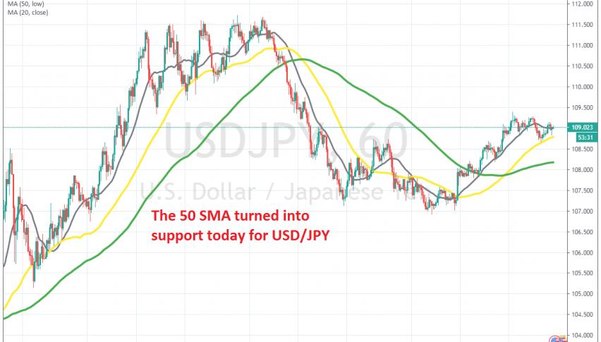 The 20 and 50 SMAs are keeping USD/JPY bullish