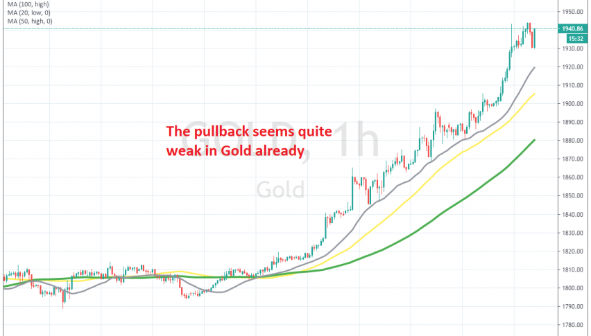 The 20 SMA keeps pushing Gold higher on the H1 chart