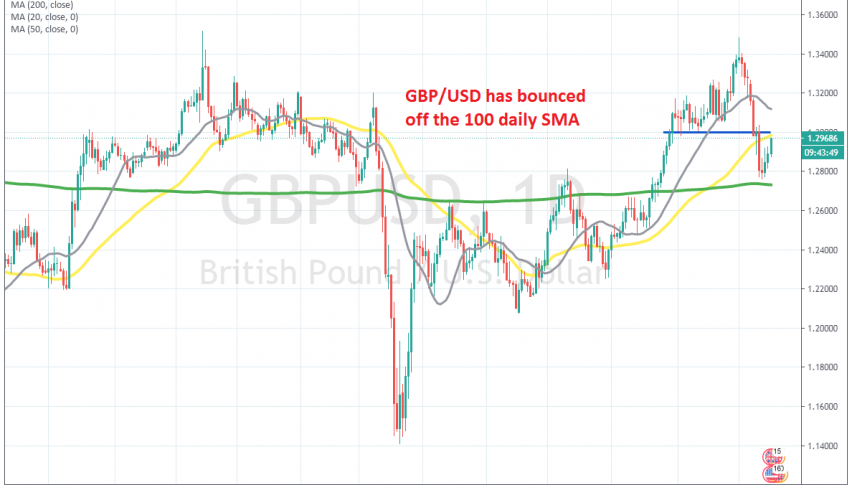 GBP/USD is facing the 50 SMA at the top now