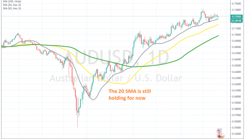 If the 20 SMA breaks, the trend will likely change