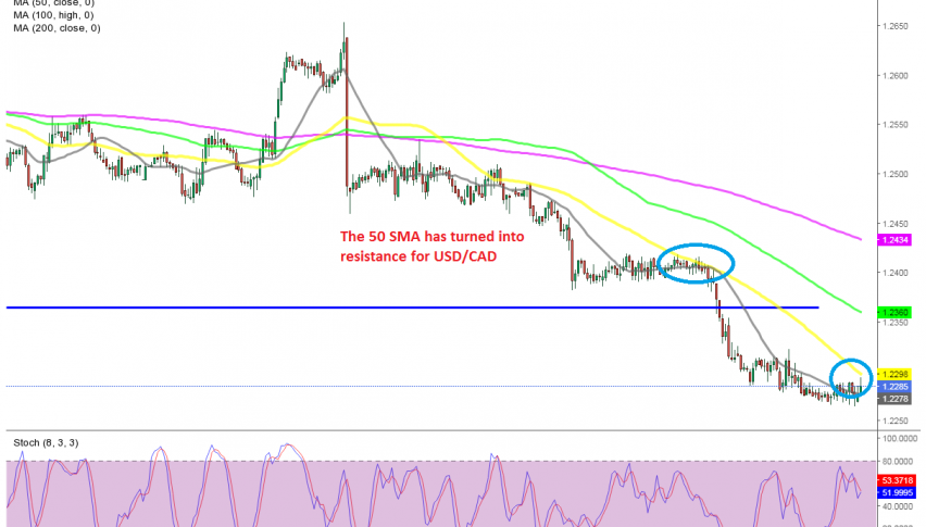 USD/CAD has just broken above the 50 SMA
