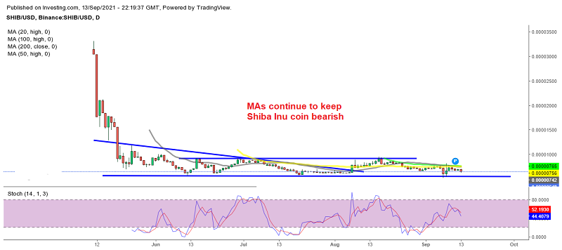 The sentiment remains bearish in Shiba coin